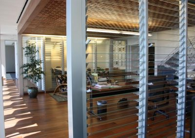 Breezway Louvres in offices provide feeling of spaciousness while keeping rooms private